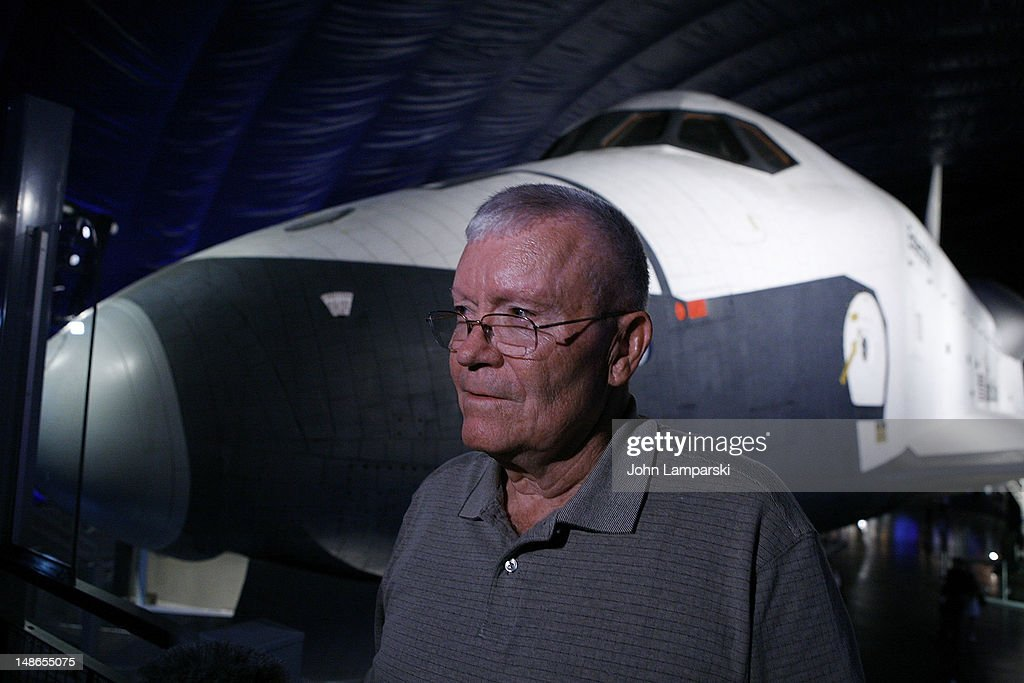Astronaut <a gi-track='captionPersonalityLinkClicked' href=/galleries/search?phrase=Fred+Haise&family=editorial&specificpeople=90887 ng-click='$event.stopPropagation()'>Fred Haise</a> attends the Space Shuttle Pavilion Press Preview at the Intrepid Sea-Air-Space Museum on July 18, 2012 in New York City.