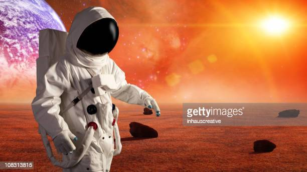 Astronaut In Space Exploring Alien Planet