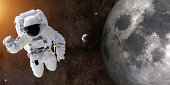 Astronaut In Space Near Moon