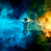 3D illustration of astronaut floating in space between glowing galaxies