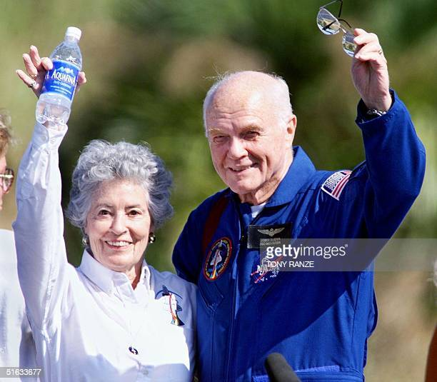 Astronaut John Glenn and his wife Annie wave to friends at the Kennedy Space Center FL 08 November as the crew of the Shuttle Discovery prepared to...