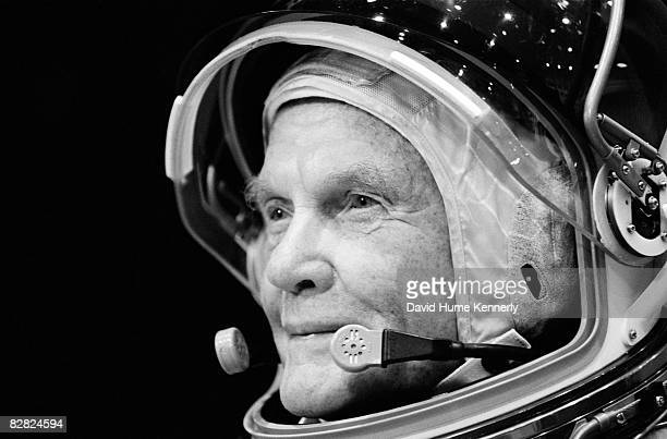 Astronaut John Glenn trains at the Johnson Space Center August 28 1998 in Houston Texas