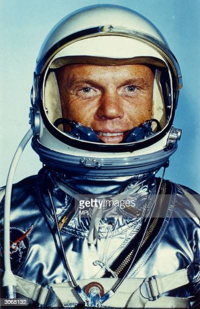 Astronaut John Herschell Glenn Jnr who became the first American to carry out a space orbit of the earth in the Project Mercury capsule Friendship 7