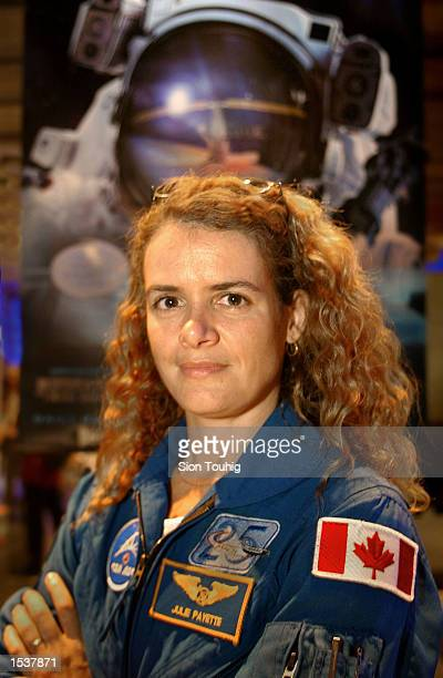Astronaut Julie Payette from Montreal Canada attends the launch of 'space Station 3D'' at the Science Museum April 25 2002 in London The film is a...