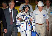 US astronaut Kate Rubins member of the main crew of the mission to the International Space Station walks to the rocket prior the launch at the...