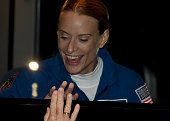 NASA astronaut Kate Rubins waves to her relatives from a bus during a sendingoff ceremony at the Russianleased Baikonur cosmodrome at the...