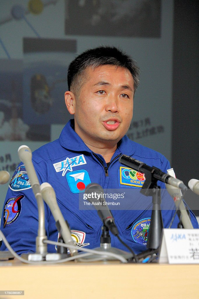 Astronaut <a gi-track='captionPersonalityLinkClicked' href=/galleries/search?phrase=Koichi+Wakata&family=editorial&specificpeople=220363 ng-click='$event.stopPropagation()'>Koichi Wakata</a> speaks during a press conference at the Japan Aerospace Exploration Agency (JAXA) Tsukuba Space Center on July 29, 2013 in Tsukuba, Ibaraki, Japan. Wakata is appointed as the commander of Expedition 39 of the International Space Station.