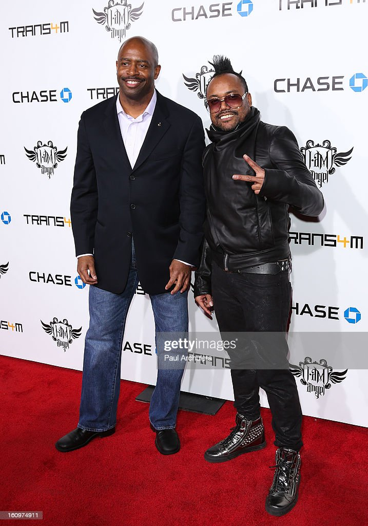 Astronaut Leland Melvin (L) and Recording Artist apl.de.ap (R) attend the 2nd Annual Will.i.am TRANS4M Boyle Heights benefit concert at Avalon on February 7, 2013 in Hollywood, California.