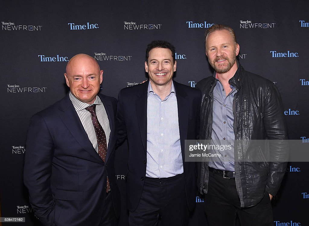 Astronaut Mark Kelly, President, Entertainment & Sports Group and Video at Time Inc. Rich Battista and Morgan Spurlock attend the TimeInc. NEWFRONT at Gotham Hall on May 5, 2016 in New York City.