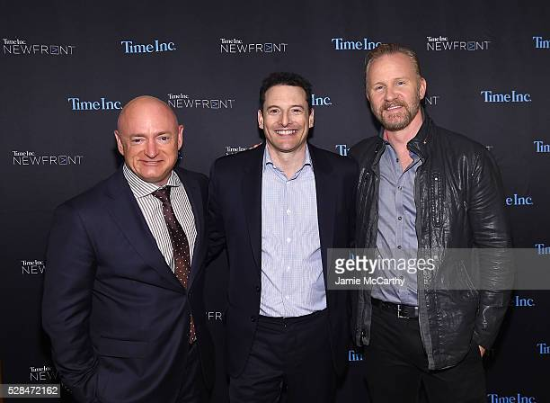 Astronaut Mark Kelly President Entertainment Sports Group and Video at Time Inc Rich Battista and Morgan Spurlock attend the Time Inc NEWFRONT at...
