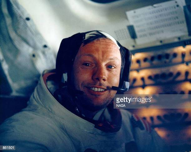 Astronaut Neil Armstrong smiles inside the Lunar Module July 20 1969 The 30th anniversary of the Apollo 11 Moon landing mission is celebrated July 20...