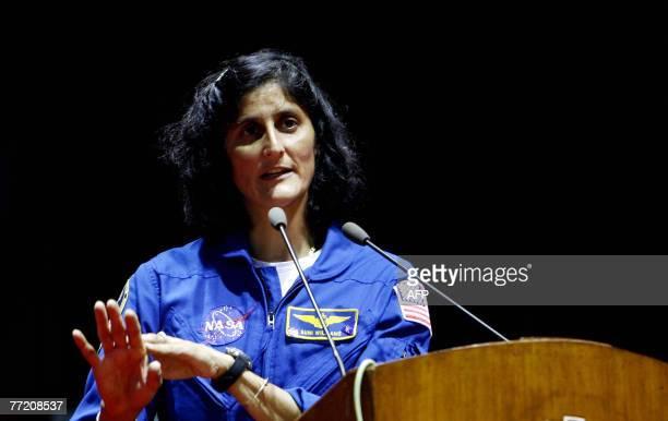 US astronaut of Indian origin Sunita Williams speaks during her visit to Indian Institute of Technology in Mumbai 06 October 2007 Williams who spent...