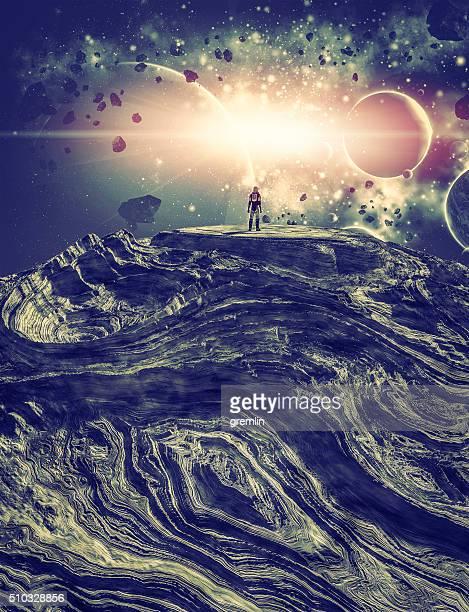 Astronaut auf fremden Planeten Besuchen Sie lokale Cluster