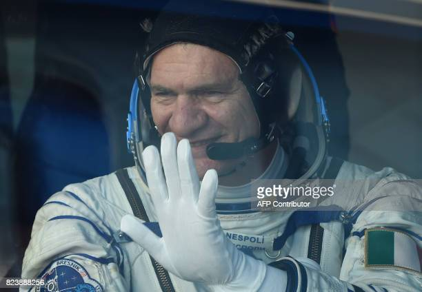 ESA astronaut Paolo Nespoli a member of the main crew of the 51/52 expedition to the International Space Station gestures as he travels with...