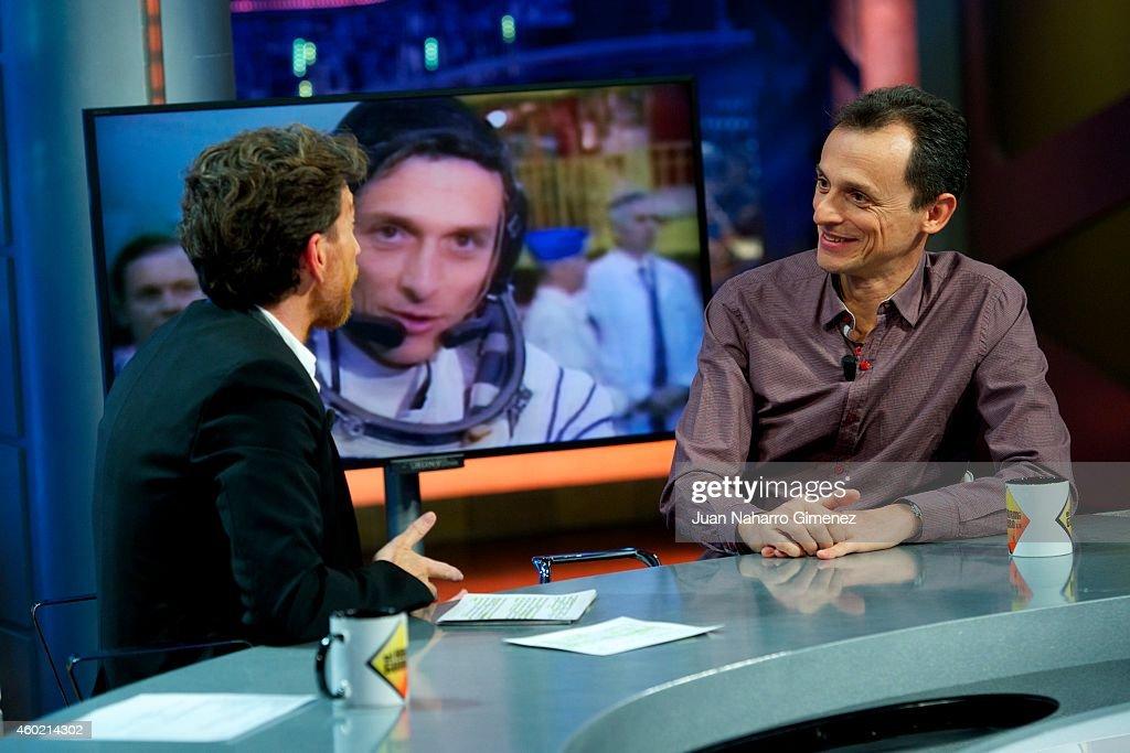 Astronaut Pedro Duque and Pablo Motos attend 'El Hormiguero' Tv show at Vertice Studio on December 9 2014 in Madrid Spain