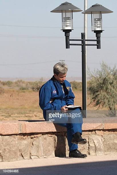 US astronaut Peggy Whitson waits for news about the landing of the Soyuz TMA18 spacecraft at the Zhezkazgan airport in Kazakhstan on September 24...