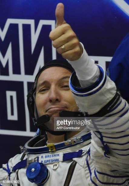 NASA astronaut Randy Bresnik a member of the main crew of the 52/53 expedition to the International Space Station gestures at the Russianleased...