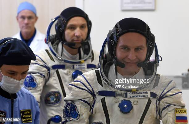 NASA astronaut Randy Bresnik and Russian cosmonaut Sergei Ryazansky members of the main crew of the 52/53 expedition to the International Space...