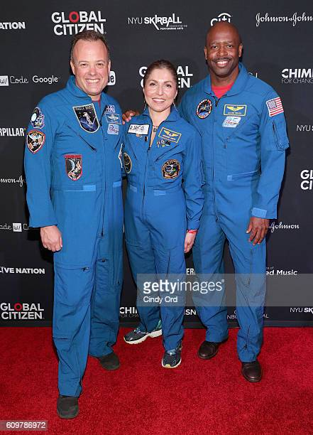 NASA astronaut Ron Garan businesswoman and selffunded space traveler Anousheh Ansari and NASA astronaut Leland Melvin attend Global Citizen The World...