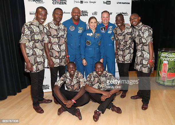 NASA astronaut Ron Garan businesswoman and selffunded space traveler Anousheh Ansari and NASA astronaut Leland Melvin pose backstage with the Kenyan...