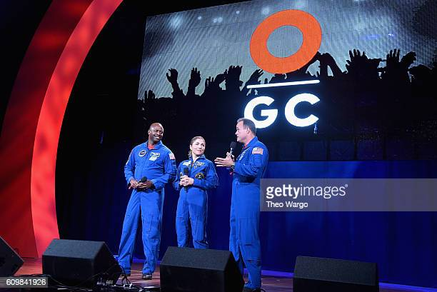 NASA astronaut Ron Garan businesswoman and selffunded space traveler Anousheh Ansari and NASA astronaut Leland Melvin speak onstage during Global...