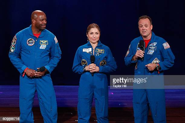 NASA astronaut Ron Garan businesswoman and selffunded space traveler Anousheh Ansari and NASA astronaut Leland Melvin speak onstage during 2016...