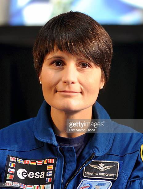Astronaut Samantha Cristoforetti of ESA space agency attends the ESA Futura Mission press conference at the Central Station on October 8 2015 in...