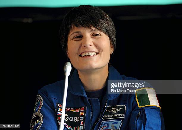 Astronaut Samantha Cristoforetti of ESA space agency speaks during the ESA Futura Mission press conference at the Central Station on October 8 2015...