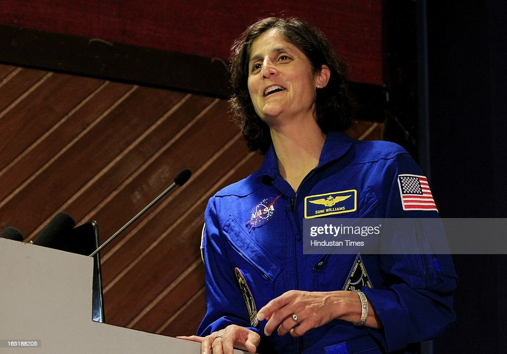 Astronaut Sunita L Williams during an interaction with School children organised by the National Science Centre on April 1, 2013 in New Delhi, India.