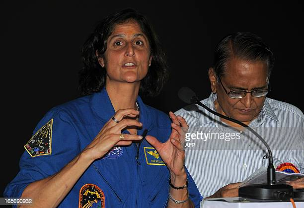 US astronaut Sunita Williams speaks to students during her visit at the Gujarat Science City on the outskirts of Ahmedabad on April 5 2013 Williams...
