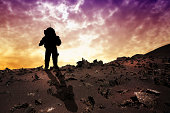 Astronaut to Mars silhouette