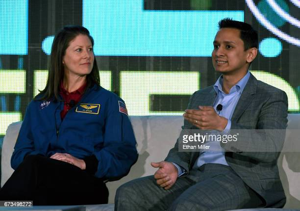 NASA astronaut Tracy Caldwell Dyson and Amazon Web Services Elemental Vice President of Engineering Khawaja Shams speak during the panel 'Reaching...