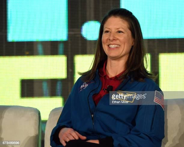 NASA astronaut Tracy Caldwell Dyson speaks during the panel 'Reaching for the Stars Connecting to the Future with NASA and Hollywood' following the...