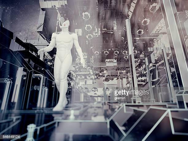 Astronaut walking in futuristic city