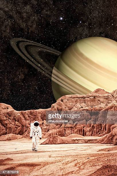 Astronaut Walking Saturn Moon