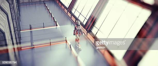 Astronaut walking, spaceship, space travel