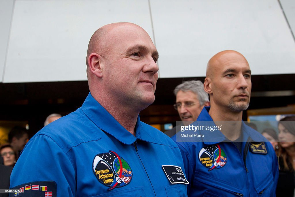Astronauts Andre Kuipers of The Netherlands and Luca Patmitano of Italy at The European Space Agency on October 24, 2012 in Noordwijk aan Zee, Netherlands.