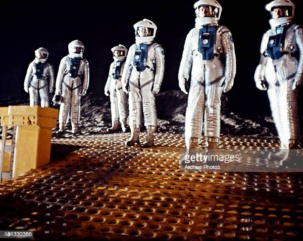 Astronauts at a space station in a scene from the film '2001 A Space Odyssey' 1968