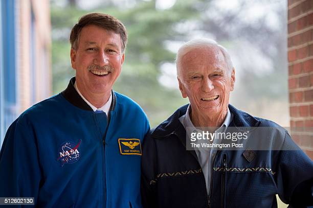 Astronauts Captain Kent Rominger left and Captain Gene Cernan spoke to students at Churchill Road Elementary School in McLean Va on Feb 24 2016...