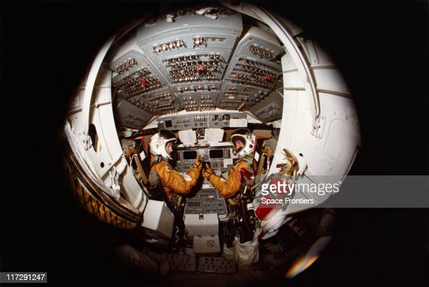 NASA astronauts John Watts Young and Robert Laurel Crippen the crew of the STS1 mission on the space shuttle 'Columbia' give a thumbs up from the...