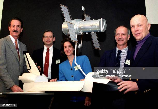 Astronauts visit British Aerospace at Filton Bristol lR Jeffrey Hoffman Thomas Akers Kathryn Thornton Claude Nicollier and Story Musgrave with a...