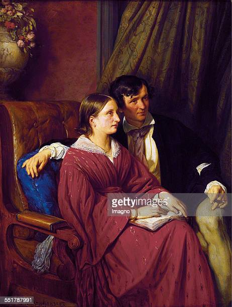 Astronomer karl Ludwig Littrow and his wife Augusteborn Bischoff Painting by Josef Danhauser Oil on cardboard 1841