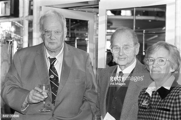 Astronomer Patrick Moore and naturalist Peter Scott attend Foyles Luncheon for Alan Whicker at the Dorchester in London