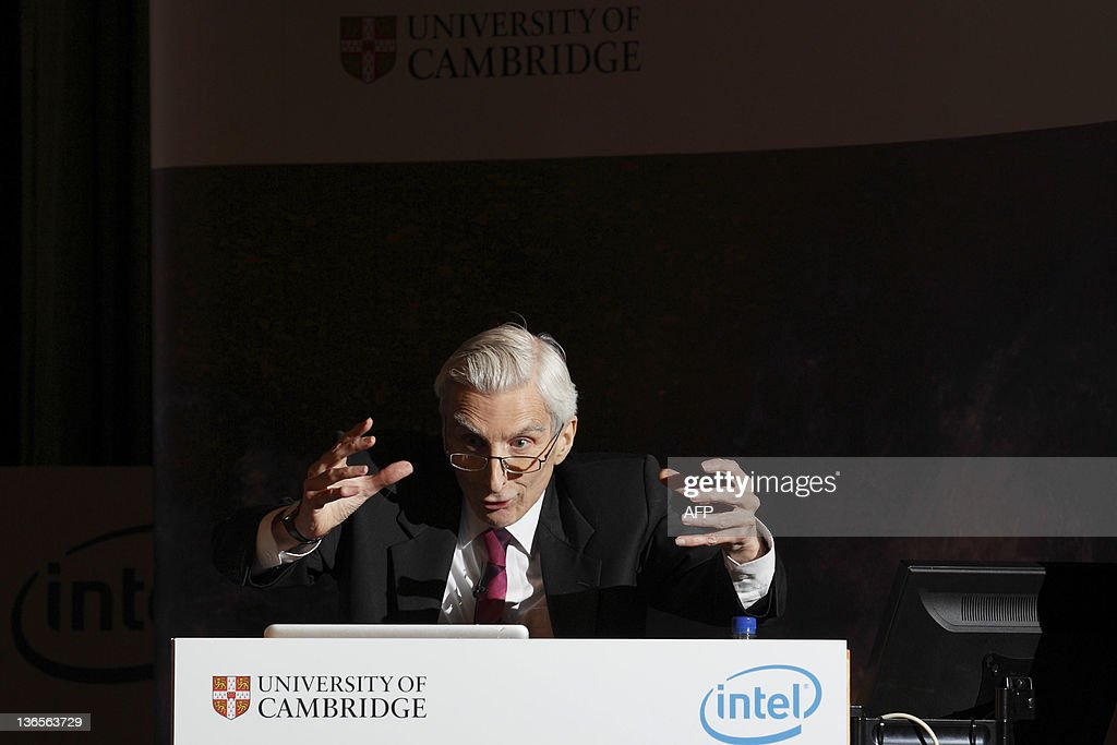 Astronomer Royal Martin Rees gives a lecture 'From Planets to Universes' at Stephen Hawking's 70th birthday symposium lecture at The University of Cambridge on January 8, 2012. British scientist Stephen Hawking was forced to miss a scientific debate to mark his 70th birthday Sunday because he was only discharged from hospital two days earlier.