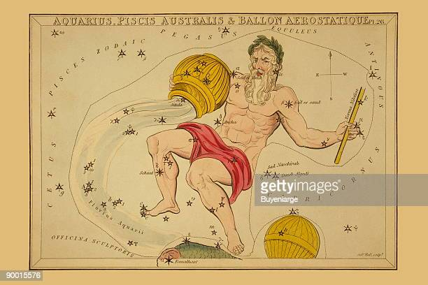 Astronomical chart showing a male figure holding an inverted bowl from which water flows at his feet appears the back of a fish and a balloon forming...