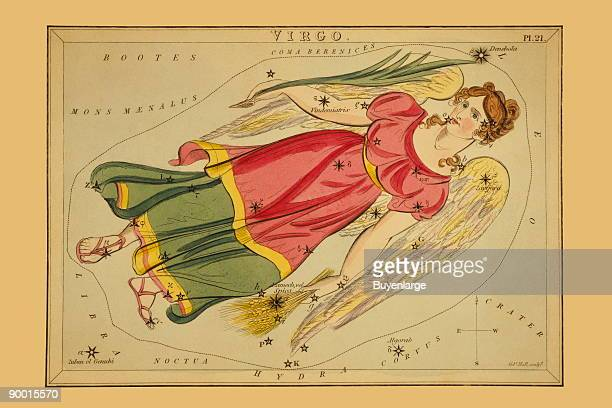 Astronomical chart showing a winged virgin holding wheat in her left hand and a lily in her right hand forming the constellation