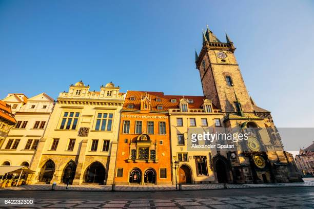 Astronomical clock, Old Town Square and Tyn Church early in the morning, Prague, Czech Republic