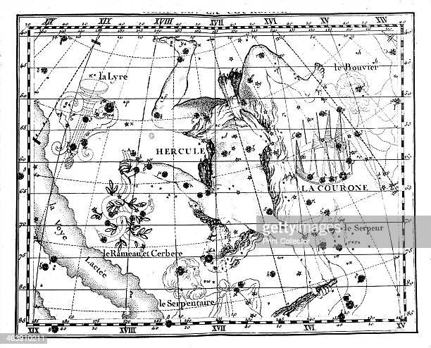 Astronomical map centred on the constellation of Hercules 1775 Part of the Milky Way is shown on the right of the image From Atlas Coelestis de...