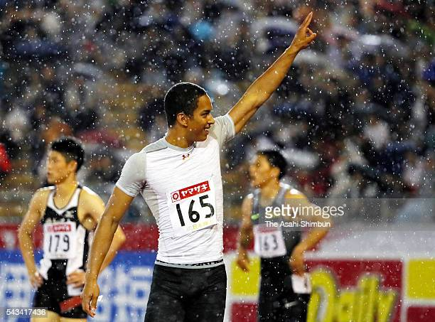 Asuka Cambridge celebrates winning the Men's 100m final during day two of the 100th Japan National Athletic Championships at the Paroma Mizuho...