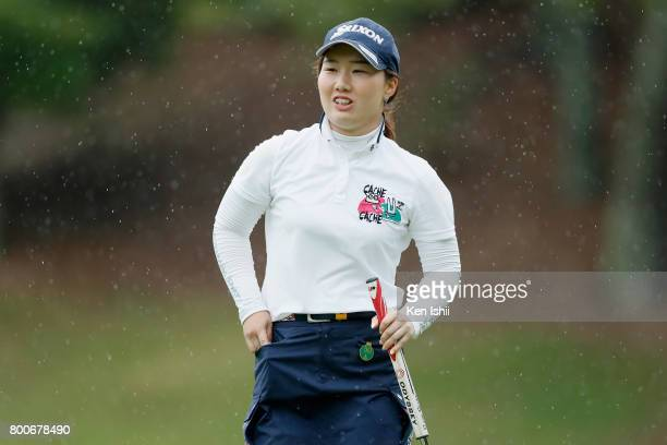 Asuka Ishikawa of Japan reacts after her birdie putt on the 9th green during the final round of the Yupiteru The Shizuoka Shimbun SBS Ladies at the...